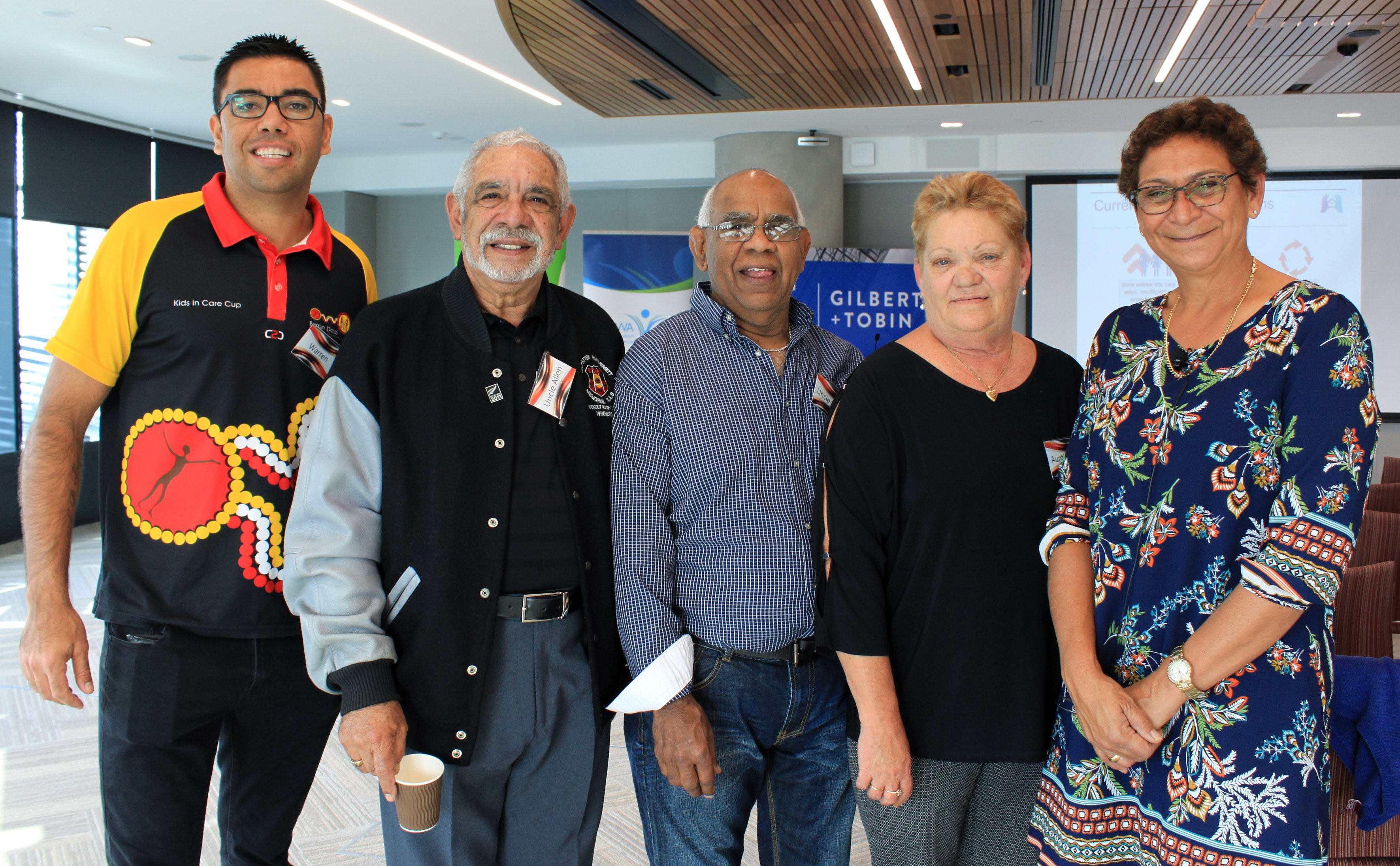 Warren Ahoy (Burrun Dalai Aboriginal Corporation), Uncle Allen Madden & foster carers Eddie & Rose Vale.