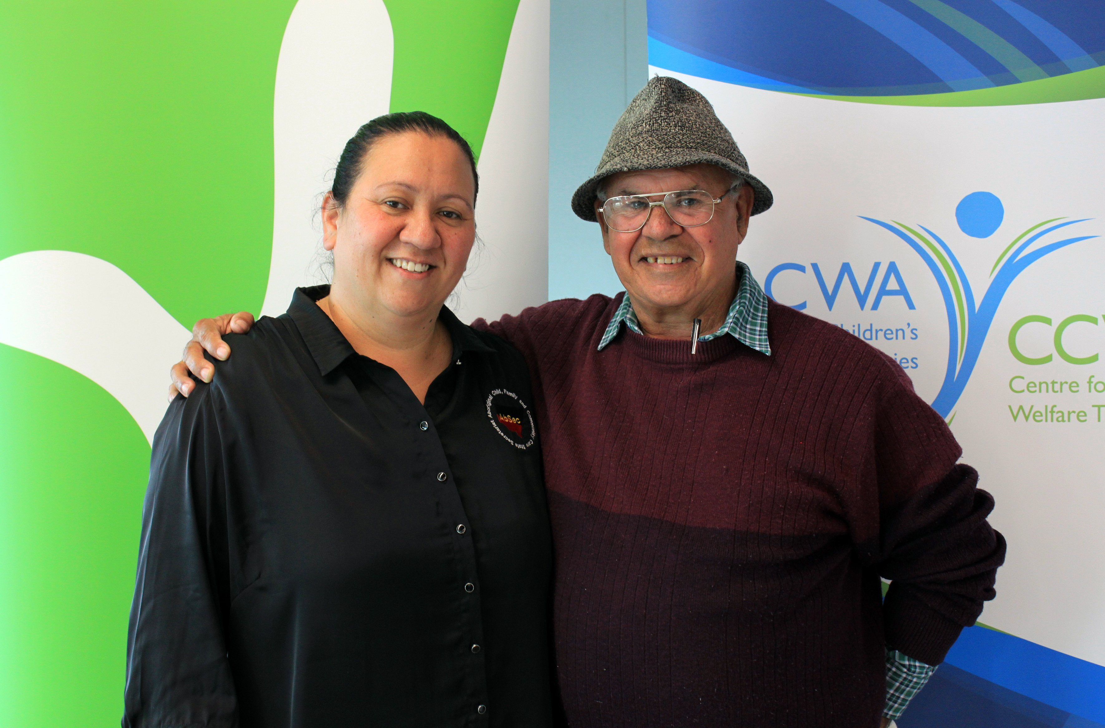 Vicki Barton (AbSec) & Michael Welsh (Kinchela Boys Home Aboriginal Corporation).